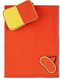 Lisa Perry Colorblocked Cashmere Travel Set-Orange