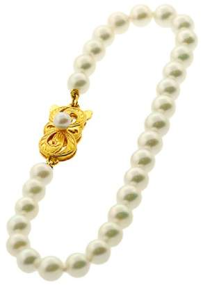 Mikimoto 18K Yellow Gold Clasp & Cultured Pearl Bracelet