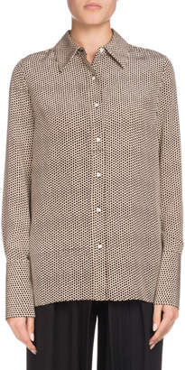 Proenza Schouler Long-Sleeve Button-Down Dot-Print Silk Shirt