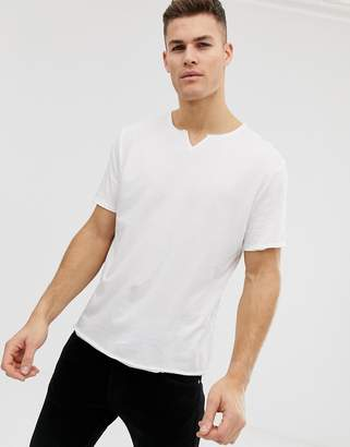 Asos DESIGN relaxed fit t-shirt with raw notch neck in white
