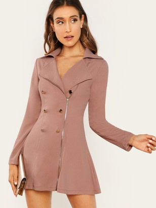 Shein Double Breasted Zip Front Blazer Dress
