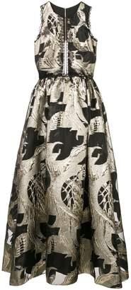 Marchesa lace-embellished metallic dress