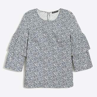 J.Crew Factory Printed tiered bell-sleeve top
