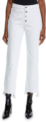 RtA Max High-Rise Button-Front Jeans with Frayed Hem