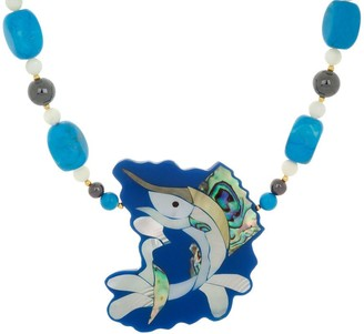Lee Sands Fish Inlay Pendant w/Beaded Necklace