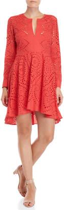 BCBGMAXAZRIA Eyelet Fit & Flare Dress