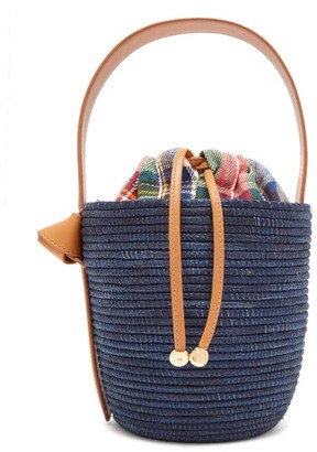 Cesta Collective - Leather Handle Sisal Basket Bag - Womens - Navy Multi