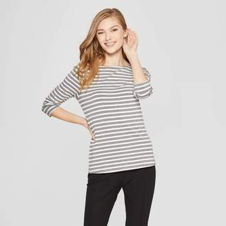 A New Day Women's Striped 3/4 Sleeve Clean Boat Neck T-Shirt