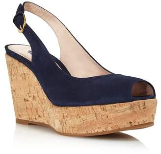 Stuart Weitzman Women's Jean Peep Toe Platform Wedge Sandals