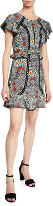 Laundry by Shelli Segal Studded Mini Dress with Ruffle Accents