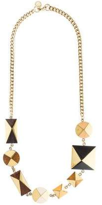 Stella McCartney Wood & Resin Geometric Necklace