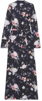 Equipment Britten Floral-print Silk Crepe De Chine Maxi Dress - Black