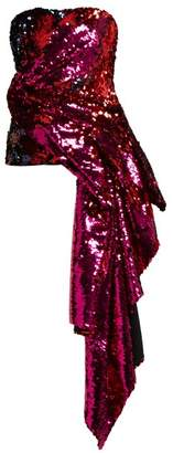 Halpern - Sequinned Asymmetric Draped Bustier Top - Womens - Fuchsia