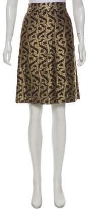 Dries Van Noten Metallic Embossed Pencil Skirt Gold Metallic Embossed Pencil Skirt