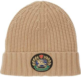 Burberry Embroidered Crest Rib Knit Wool Cashmere Beanie