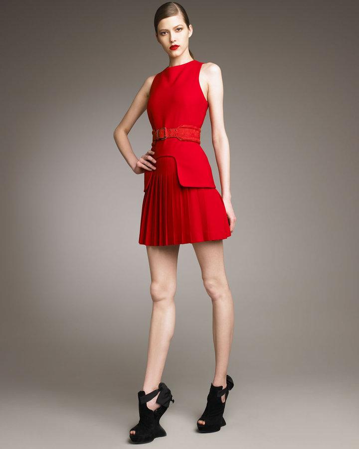 Alexander McQueen Pleated-Skirt Dress