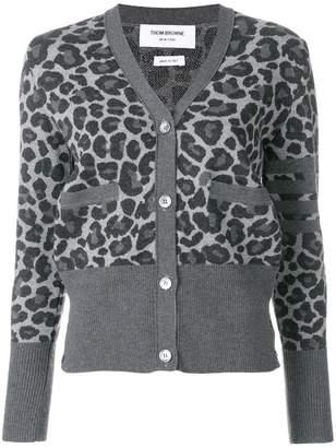 Thom Browne Leopard Wool Jacquard V-Neck Cardigan