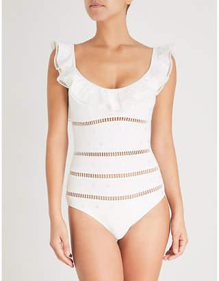 Zimmermann Cream Stripe Melody Dot Scoop-Neck Swimsuit