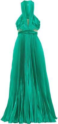 ZUHAIR MURAD Cutout Silk-blend Plisse Maxi Dress