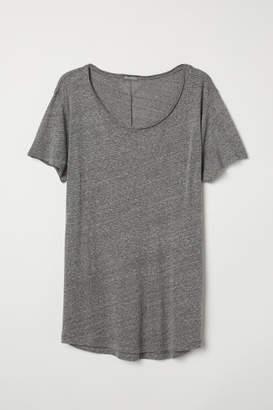 H&M Raw-edge T-shirt - Gray