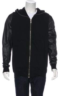 Rick Owens Leather-Trimmed Sweatshirt