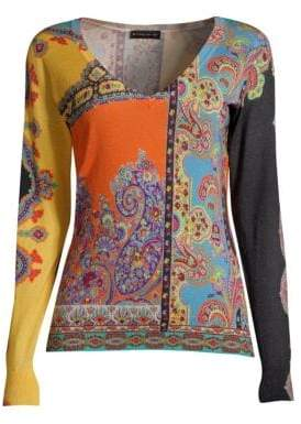 Etro Silk& Cashmere Paisley Sweater