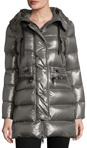MonclerMoncler Aphrotiti Shiny Quilted Down Coat w/Fur Hood