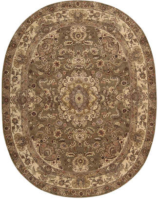"Nourison Wool & Silk 2000 2028 Olive 7'6"" x 9'6"" Oval Rug"