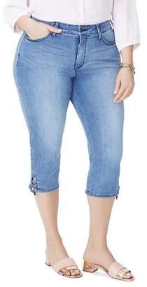 NYDJ Plus Lace-Up Cuff Skinny Capri Jeans in Point Dume