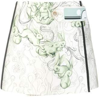 Prada rabbit print mini skirt