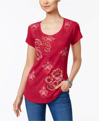 Style&Co. Style & Co Petite Embroidered Graphic-Print Top, Created for Macy's