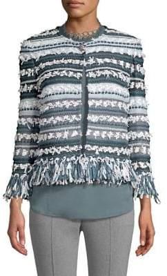 St. John Fringe-Trim Tweed Jacket