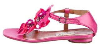 Lanvin Satin Embellished Sandals Pink Satin Embellished Sandals