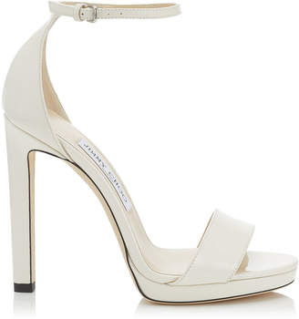 Jimmy Choo MISTY 120 Latte Patent Leather Platform Sandals