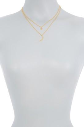 ADORNIA 14K Gold Vermeil Diamond Pave Star & Crescent Pendant Necklace