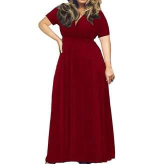 Mikkar Women's Maxi Dress Solid V-Neck Short Sleeve Plus Size Evening Party