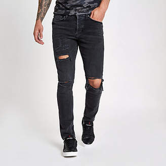 River Island Black wash ripped Sid skinny jeans