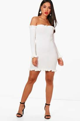 boohoo Knitted Rib Ruffle Detail Mini Dress
