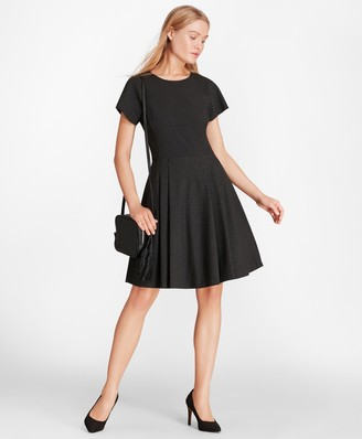 Brooks Brothers Flocked Polka Dot Twill A-Line Dress