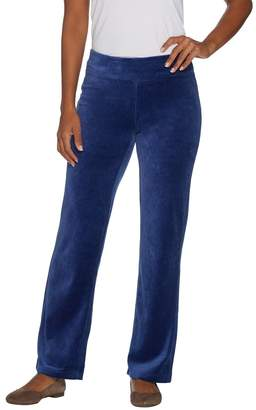 Denim & Co. Petite Stretch Velour Straight Leg Pull-On Pants