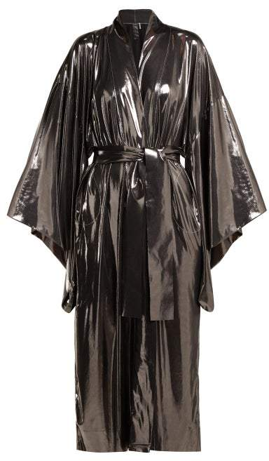 Belted Lame Robe - Womens - Silver