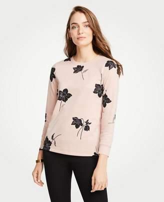 Ann Taylor Shimmer Floral Sweatshirt