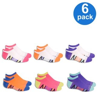 Fruit of the Loom Girls' Everyday Active Lightweight Flat Knit No Show Socks with Arch Support, 6 Pairs