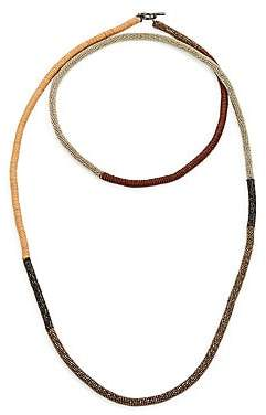 Brunello Cucinelli Women's Monili Necklace with Leather Details