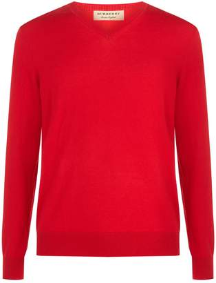 Burberry V-Neck House Check Elbow Patch Sweater