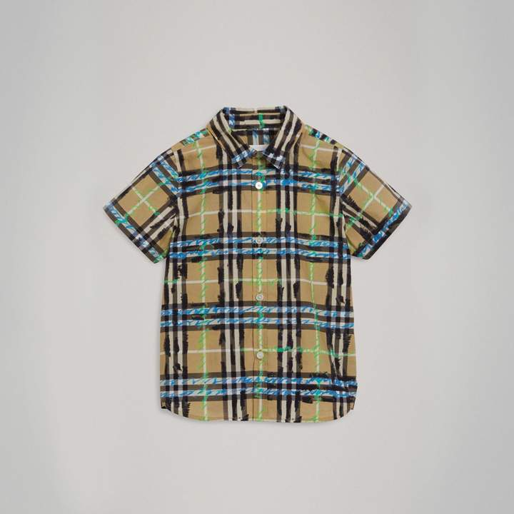Short-sleeve Scribble Check Cotton Shirt