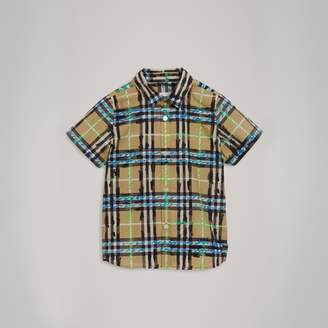 Burberry Short-sleeve Scribble Check Cotton Shirt