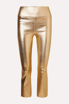 Sprwmn Cropped Metallic Leather Flared Pants - Gold
