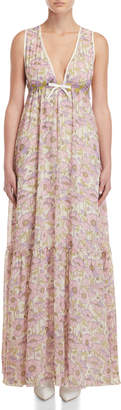 Giamba Floral Empire Waist Gown