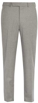 Ermenegildo Zegna Mid Rise Straight Leg Wool Trousers - Mens - Light Grey